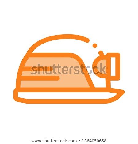 safety helmet with flashlight icon vector outline illustration Stock photo © pikepicture