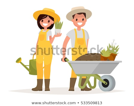 Set of happy mans and womans gardener or farmer with shovel, tree, pitchfork, pumpkin, funnel in han Stock photo © designer_things