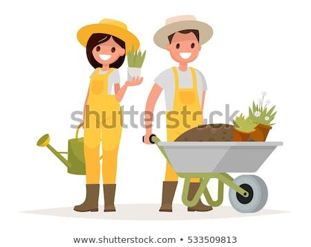 набор счастливым садовник фермер лопатой дерево Сток-фото © designer_things