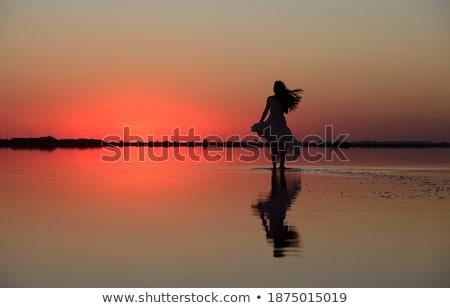 Woman at beauty sunset on salty lake Stock photo © olira