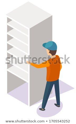 Porter Moving White Cupboard or Bookcase Vector Stock photo © robuart