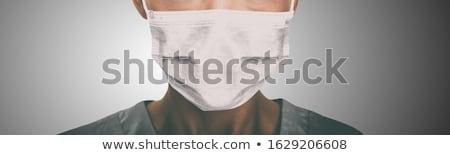 Coronavirus Wuhan China outbreak Asian chinese woman wearing face mask versus man washing hands in h Stock photo © Maridav