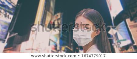 Coronavirus banner Asia mujer caminando Foto stock © Maridav