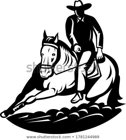 Zawodowych rodeo cięcie konia konkurencja retro Zdjęcia stock © patrimonio