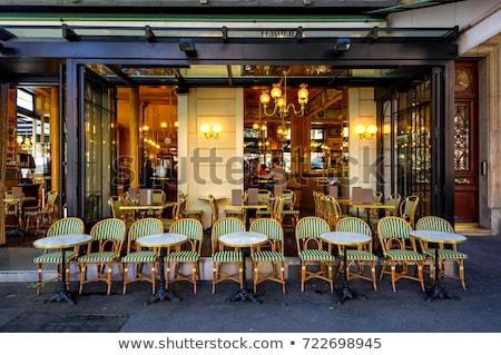 Párizsi kávézó terasz eső kávé asztal Stock fotó © dutourdumonde