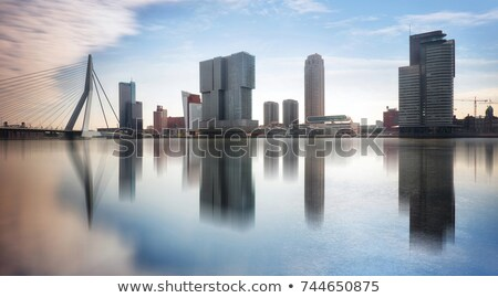 maas river skyline rotterdam netherlands stock photo © vlaru