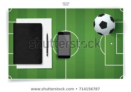 Piłka nożna notebooka zielona trawa tekstury książki piłka nożna Zdjęcia stock © Archipoch
