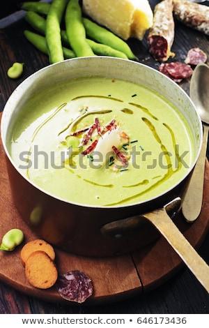 salami pecorino cheese and broad beans stock photo © antonio-s