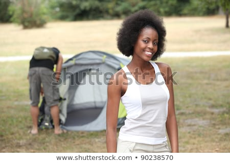 Couple pitching tend in campsite Stock photo © photography33