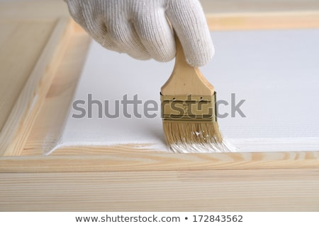 Живопись двери белый художника рабочих краской Сток-фото © Hofmeester