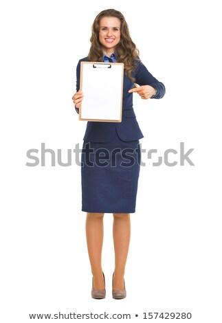 bonitinho · feminino · aprendiz · indicação · clipboard · menina - foto stock © get4net