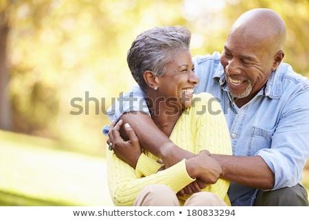 ontspannen · park · gelukkig · ouderen · hoed - stockfoto © photography33