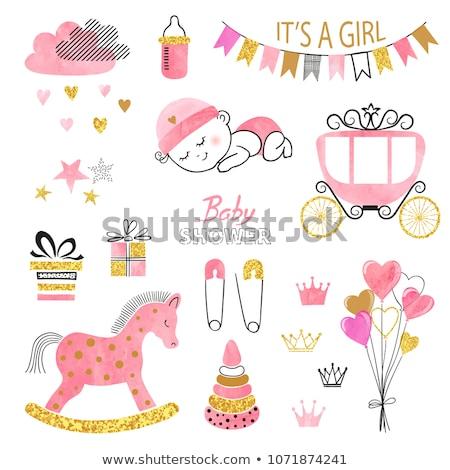 Baby girl with pink balloon Stock photo © karandaev