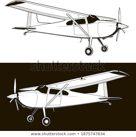 faible · avion · silhouette · noir · gris · isolé - photo stock © lkeskinen