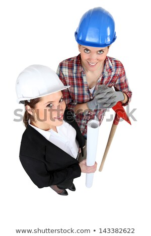 high angle shot of female architect and female bricklayer Stock photo © photography33
