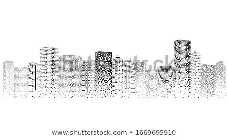 Bina şehir Sanat Ufuk çizgisi Boyama Vektör Ilüstrasyonu
