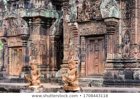 banteay srei carving column at angkor wat stock photo © hangingpixels