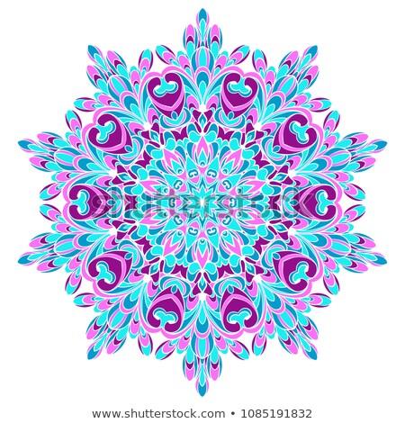 Lótusz mandala lila színes stilizált lótuszvirág Stock fotó © hpkalyani
