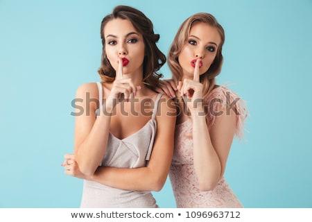 verleidelijk · vrouw · roze · bikini · zwarte - stockfoto © stryjek