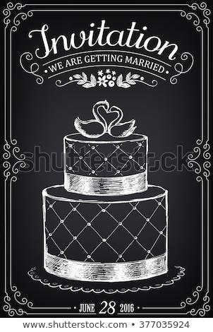 esküvői · torta · díszített · étel · esküvő · madár · eszik - stock fotó © luckyraccoon