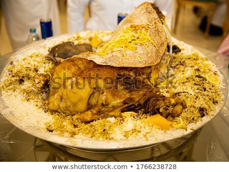 Rizs hús tányér étel fehér étel Stock fotó © jarp17