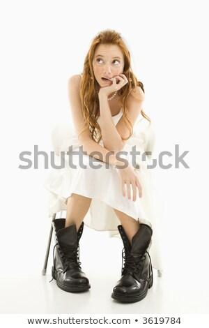 Menyasszony visel harc csizma portré kaukázusi Stock fotó © iofoto