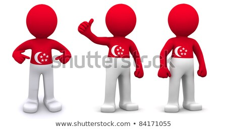 3d character textured with flag of Singapore Stock photo © Kirill_M