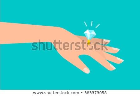Gyémánt eljegyzési gyűrű kezek vektor ikon esküvő Stock fotó © RedKoala