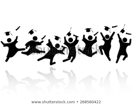 jumping in the air for the graduation cap   black mortarboard stock photo © istanbul2009