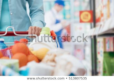 bevásárlókocsi · tele · tejgazdaság · élelmiszer · termékek · izolált - stock fotó © m-studio