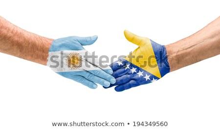 Handshake Argentinien Hand Sitzung Sport Welt Stock foto © Zerbor