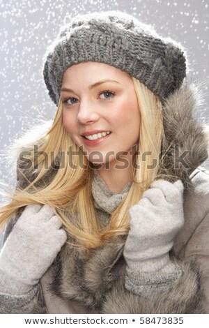 nő · felfelé · szőrmebunda · arc · tél · állatok - stock fotó © monkey_business
