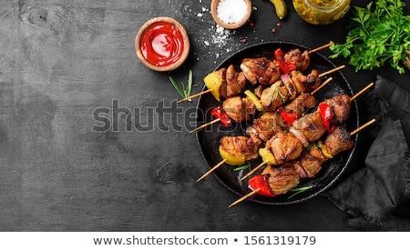 Stock fotó: Zöldség · kebab · paradicsom · ebéd · gomba · barbecue