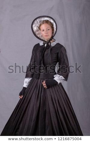 Elegante jonge vrouw zwart wit korset meisje Stockfoto © Elisanth