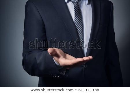 Foto stock: Hombre · de · negocios · fuera · mano · espacio · de · la · copia · aislado