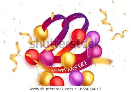 Vermelho balões fita número 22 festa Foto stock © Zerbor