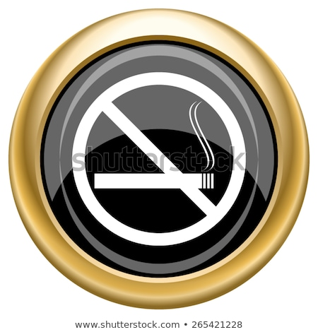 Dohányozni tilos felirat arany vektor ikon gomb Stock fotó © rizwanali3d