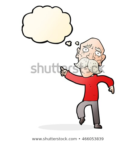 cartoon sad old man pointing with thought bubble stock photo © lineartestpilot