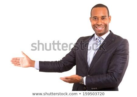 üzletember bemutat plakát portré érett háttér Stock fotó © AndreyPopov