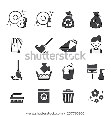 Household Broom For Floor Cleaning and Garbage Bag Stock photo © stevanovicigor