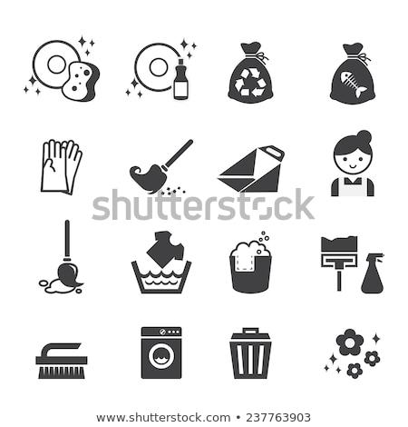 onzin · prullenbak · vloer · huishoudelijk · werk · huishouding - stockfoto © stevanovicigor