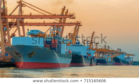 Container Cargo freight ship with working crane bridge Stock photo © cozyta