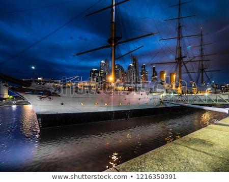 Buenos · Aires · kikötő · sziluett · hajók · iroda · víz - stock fotó © fotoquique