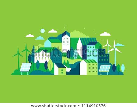verde · paisagem · cidade · usina · negócio · nuvens - foto stock © anbuch