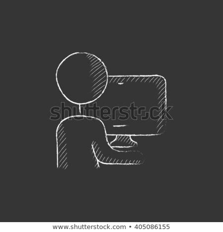 Férfi dolgozik számítógép ikon rajzolt kréta számítógép Stock fotó © RAStudio