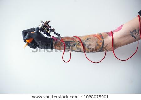láb · tetoválás · női · művész · jelentkezik · tulajdon - stock fotó © bigalbaloo