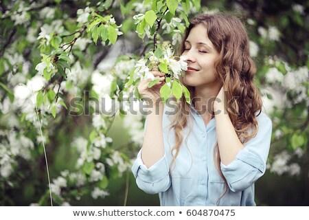 夢 若い女の子 花輪 春 緑の葉 女性 ストックフォト © tatiana3337