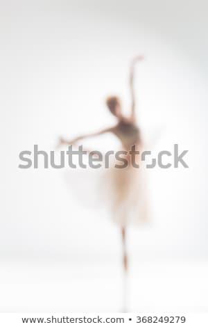 Zamazany sylwetka baleriny biały taniec tle Zdjęcia stock © master1305
