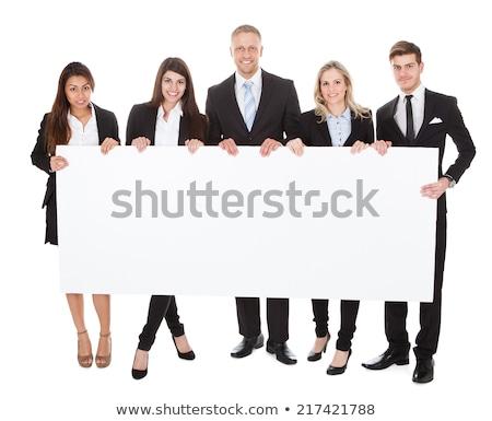 ázsiai üzletasszony mutat üres fehér tábla üzletasszony Stock fotó © Kzenon