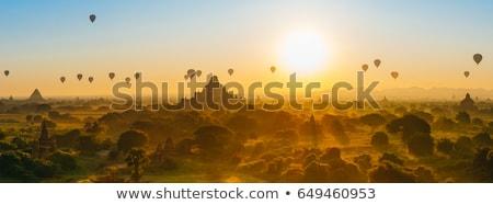 Balão voador nebuloso madrugada Mianmar Foto stock © smithore